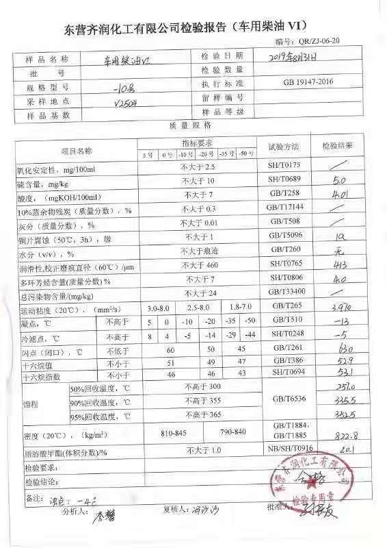 9月东营齐润化工国六0#柴油化验单及样品