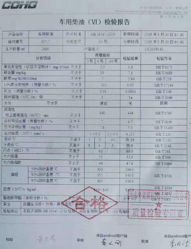 9月日照中海外能源国六0#柴油化验单及样品