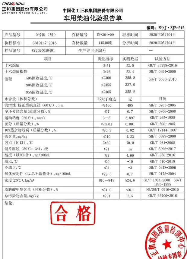 5月东营正和石化国六0#柴油化验单及样品